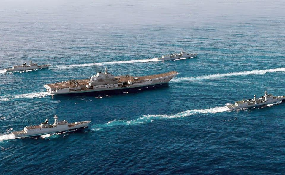 South China Sea Overviews Of Aircraft Carrier Uss Bon Homme Richard And Its Destroyer
